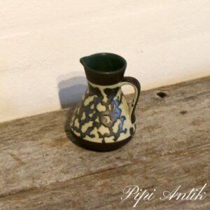 Retro Vase med hank Ø6xH12,5 cm mørk natur og Olivengrøn