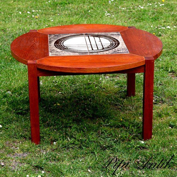1970 er stils teak kakkel rundt sofabord Ø80,5xH45 cm