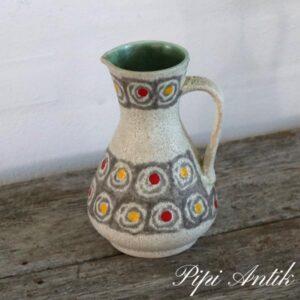 Keramikvase WG grå gul og rødt og grøn inde Ø12xH18cm