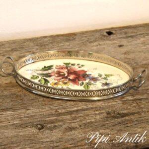 Sølvplet bakke med fajance bund med roser Des 1584 L25xB14xH2 cm