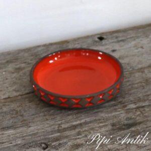 Frank keramik orange rundt skål lav Ø17xH3,5 cm