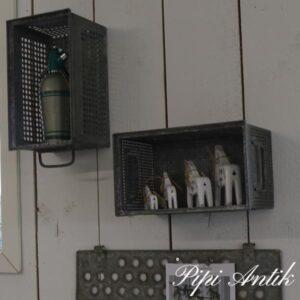 Zink metal kasse store huller L38xB21xH20 cm