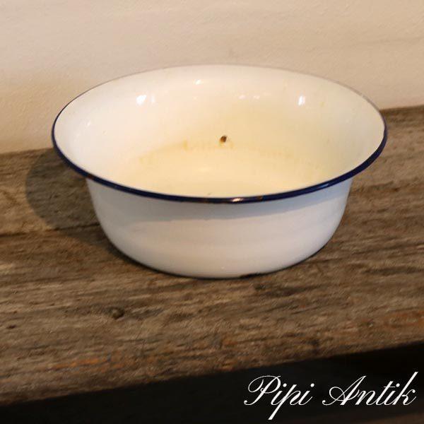 Hvid blå emalje vaskebalje Ø28xH10 cm