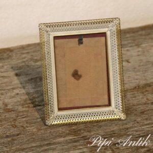 20 Retro metal fotoramme hvid guld look B9xH12 cm