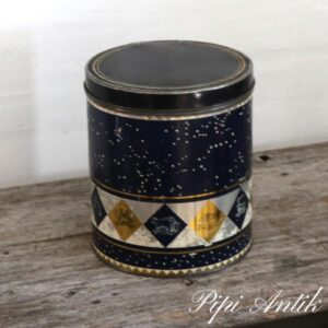 Kagedåse i mørkeblå og guld Ø19xH22 cm