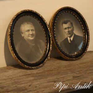Sort guldramme oval meget fin stand H32xB26xH2,5 cm
