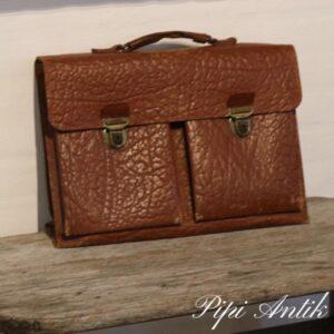 Læder skoletaske L45xH32xD13 cm