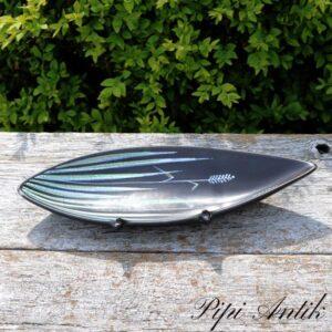 Retro aflang pyntefad sort tyrkise toner L27,5xB10 cm