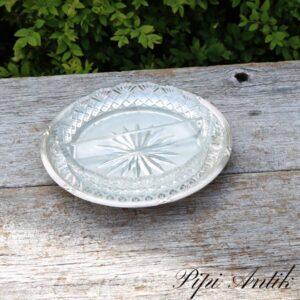 Sølvplet rundt minifad med presset glasskål med 2 rum Ø17,5xH2,5 cm