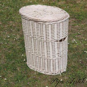 Vasketøjskurv nyere i romantisk hvidt B43xB30xH50 cm med låg