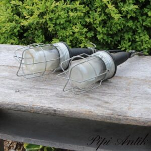 Arbejdslampe orangerilamper lamper til festtelt med sort lange ledninger og stik Ø10xH34 cm