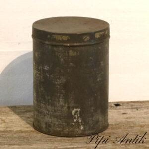 01 Metal dåse patineret Ø16x22 cm