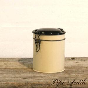 Cremefarvet kaffedåse Ø11,5x13 cm H