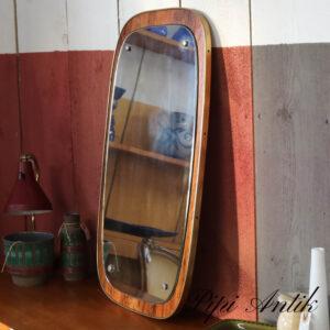 10 Teak spejl rustik med guld metal kant LB38xH70 cm