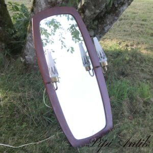 11 Teak spejl retro med sidelamper hvide B92xH45,5xD16 cm inkl lamper