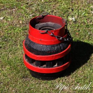 Hjul nav sort rød egetræ jern rustikt Ø 25xH29 cm