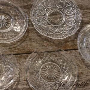Assorteret bloklys glas tallerkenØ14 til Ø16,5 cm
