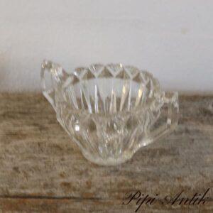 Sukkerskål i presset glas med hank Ø9x7 cm
