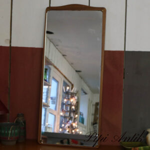 26 Teak retro spejl med sort kant B39xH89xD2,5 cm