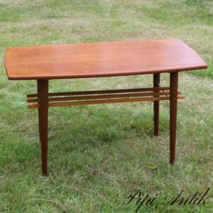 Teak retro sofabord med underhylde 1 manglende stang L95xD50xH56 cm