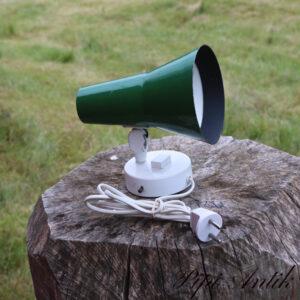 Retro grøn væglampe metal hvide inde Ø9xH20 cm