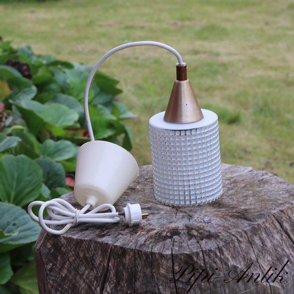 60 Retro loftlampe hvidt glas mønstret Ø9x20 cm H