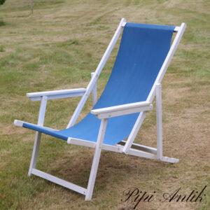 Liggestol retro solstol i træ hvidt blå