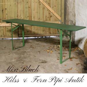 Retro industri arbejdsbord med flotte metal ben i grønt L 200xB50xH76 cm Fern Black Hills
