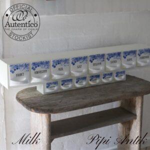 Milk krydderihylde svensk IMPORT fajance blå hvid alt intakt L98xD20x18 cm H