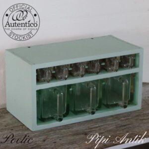 Poetic krydderiholder med glasskuffer L40xD20xH21 cm 4 store og 5 små