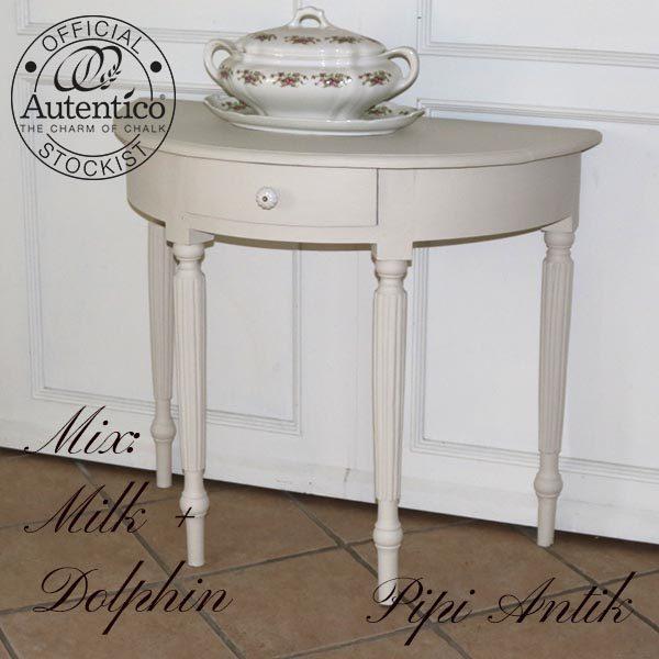 Halvt bord nyere med ny knop Milk Dolphin mix L92xD47xH50 cm