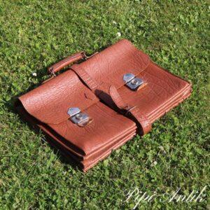 Retro læder skoletaske med ekstra rem L44,5xH32 cm