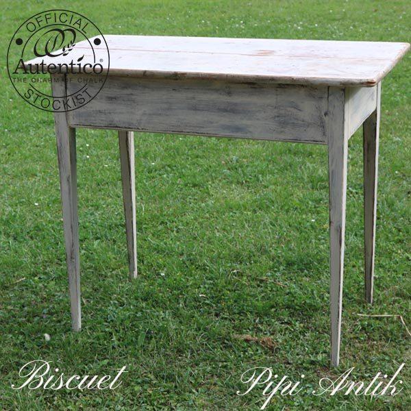 1800 tals køkkenbord patineret original malet bordplade slebet og olieret bordben Biscuit L90xB46xH73 cm