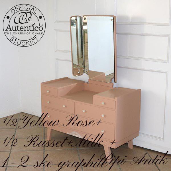 Sminkebord i mørk hudfarve L96xD42xH132 til spejl og bordhøjde 63 cm