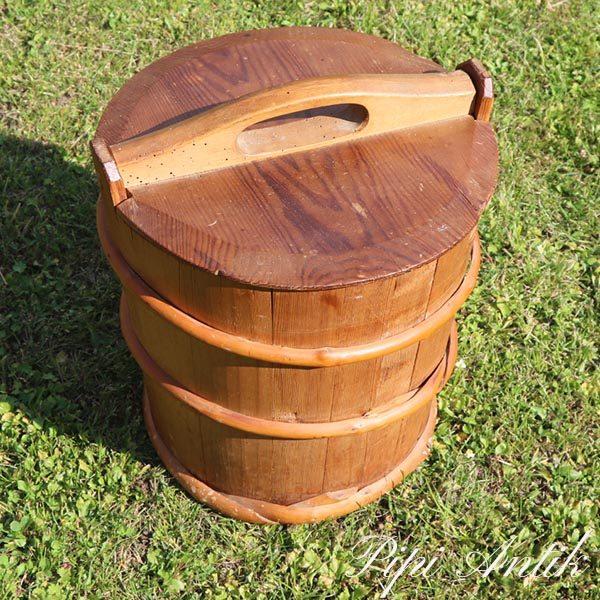 Træspand med låg Ø33xH34 cm