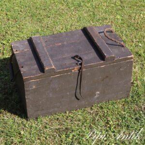 Værktøjskasse koksgrå med læderrem L48xB28xH25 cm