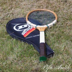 31 Retro Dunlop Max Ply Macroe tennisketcher med plastikhylder