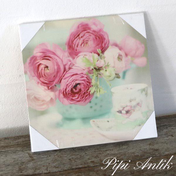 38 Romantisk billede med pink blomster 28x28 cm nyt
