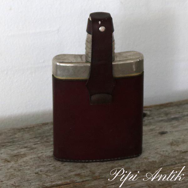 Retro lommelærke i læder og krom L11xD3xH19 cm