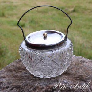 Kiksedåse i glas Ø16xH12 cm presset glas med låg