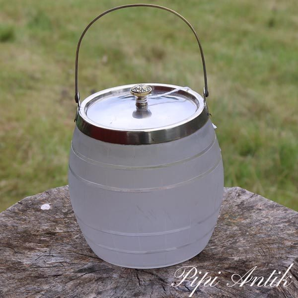 Kiksedåse i flosted glas med låg Ø14x14 cm