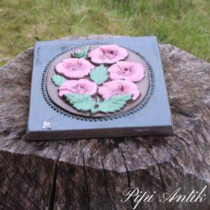 69 JIE keramikbillede grønligt med rosa blomster 840 b18xH23cm