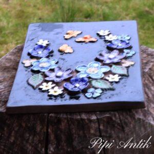 70 JIE keramikbillede stort blåligt og farverige blomster 853 B23xH32 cm
