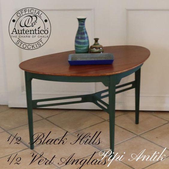 Retro trekants sofabord grønt stel og olieret topplade L90xD56xH58 cm