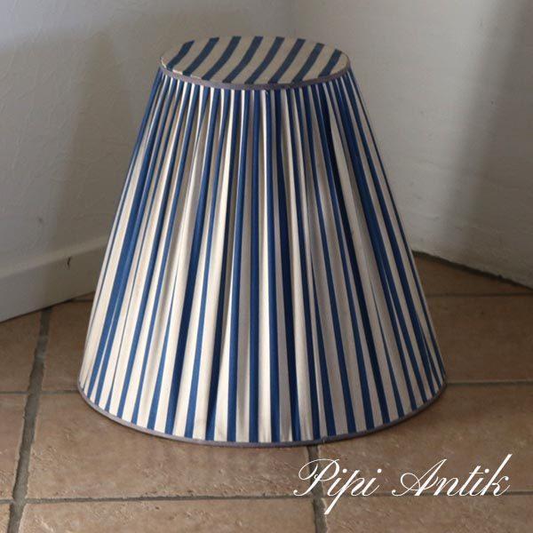 00 Retro lampeskørm Ø26 top Ø50bund x H45 cm blå hvidstribet
