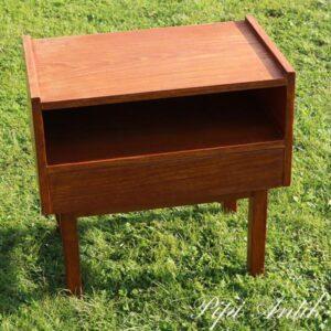 Retro teak natbord med skuffe 1970 stil L49xD30xH56 cm