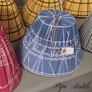 10 Retro blå hvis lampeskærm Ø26xH19 cm lille pæreholder