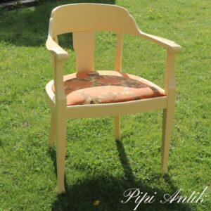 Lænestol gul med orange gul romantisk B62xD49xH80 sædet 45 cm