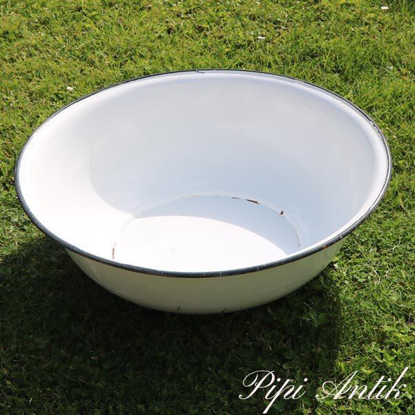 Hvid emalje mega stor Ø60xH19 cm