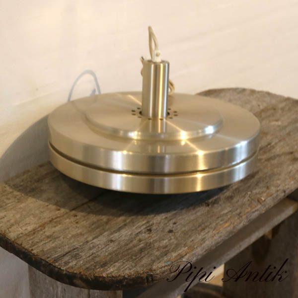 Retro messinglampe med glasindsats Ø39x20cm